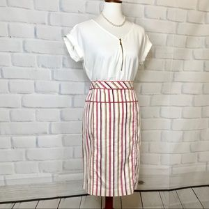 Pink Stripped Pencil Skirt by Express
